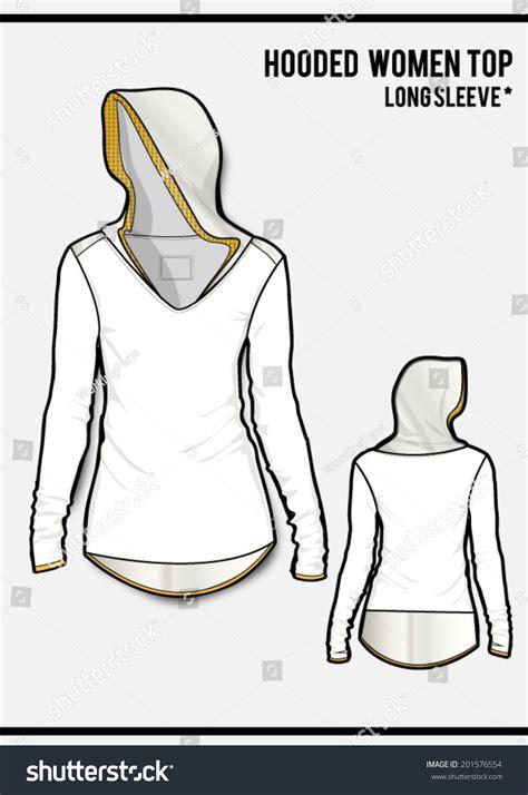 women s hooded sweatshirt with pocket template vector hooded women sweatshirtlong sleevevector stock vector