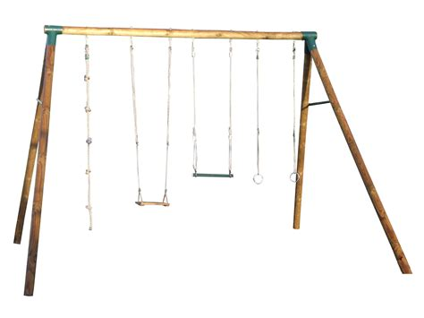Portique Adulte bois 4 agrès : balançoire   anneaux
