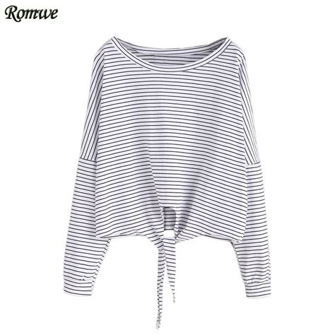 black and white pattern on clothes romwe autumn fashion t shirts for women casual tops round