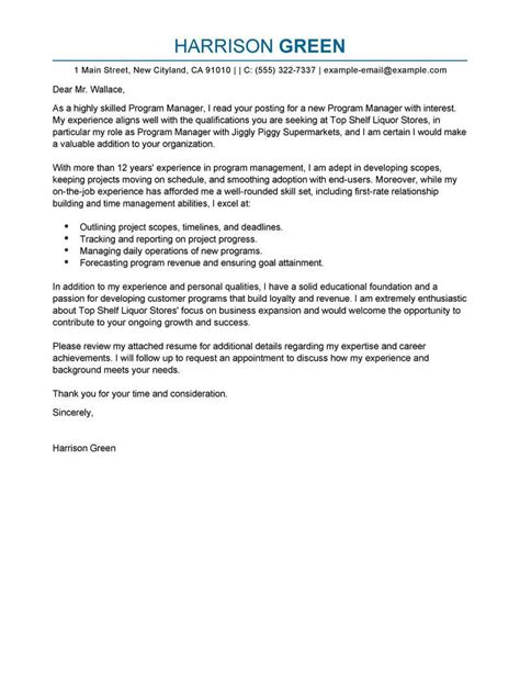 cover letter for business manager position best management cover letter exles livecareer