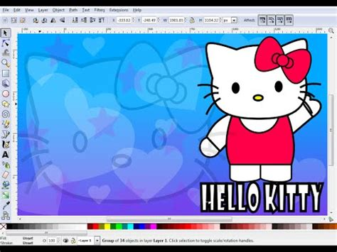 inkscape tutorial hello kitty how to draw hello kitty wallpaper in inkscape part 1