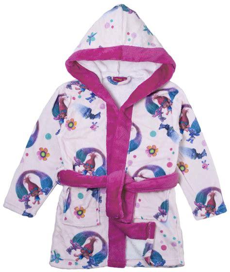 girls changing dress in bathroom girls trolls hooded fleece dressing gown poppy satin pink