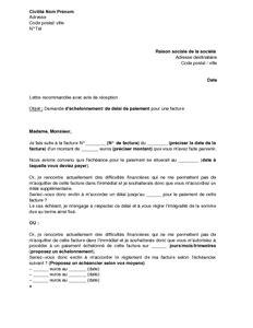 Exemple De Lettre Demande De Facture Exemple Gratuit De Lettre Demande 233 Chelonnement Ou D 233 Lai Paiement Facture