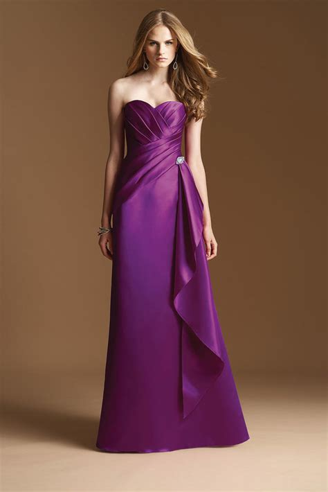 Irresistible Cheap A Line Gown Heart Long Satin Purple Bridesmaid Dress Cheap Dark Purple