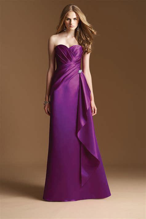 Long Satin Purple Bridesmaid Dress   fashjourney.com