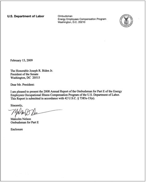 Authorization Letter Due To Illness U S Department Of Labor 2008 Fourth Annual Report Office Of The Ombudsman Eeombd Table