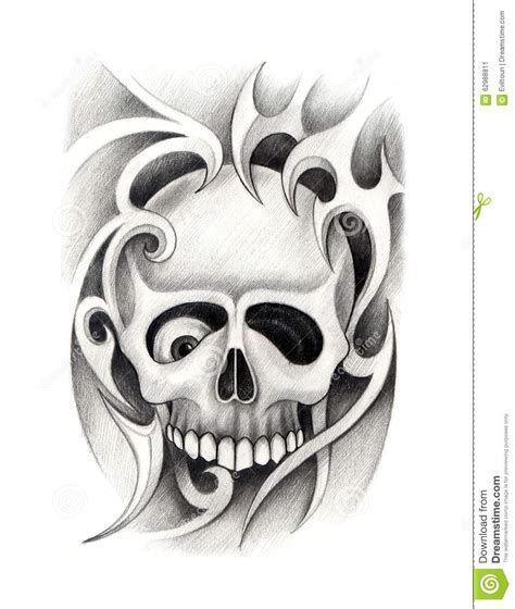 art skull head tattoo stock illustration image 62988811