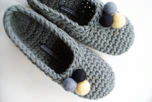 crocheted slippers with felt embellishments for women in