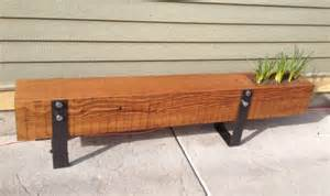Bench With Planter Boxes Unique Wood Beam Bench With Planter Box