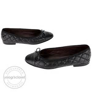 chanel black quilted leather cc bow tie ballet flats size