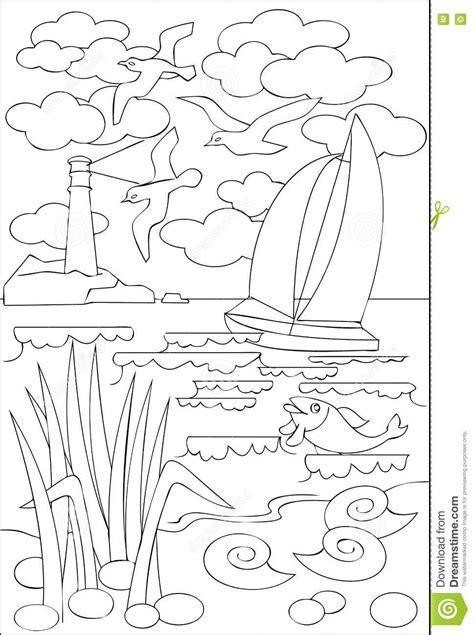 imagenes para colorear blanco y negro p 225 gina con el dibujo blanco y negro del paisaje marino