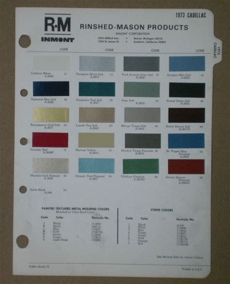 1973 cadillac paint chips eldorado r m rinshed color chart ebay luxury cars of