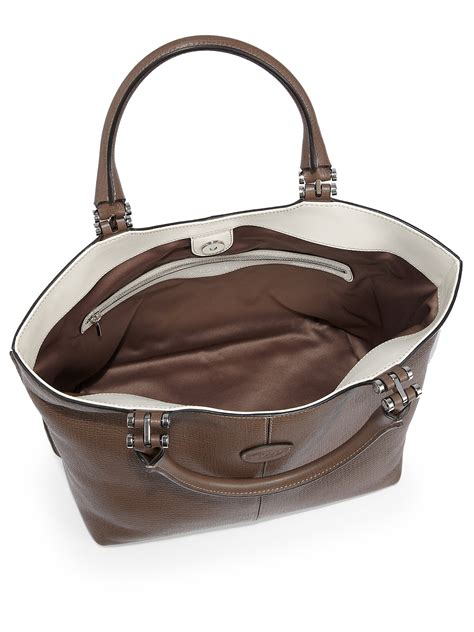 Tods New Bensonville Piccola by Tod S Piccola Leather Shopping Tote In Brown Lyst