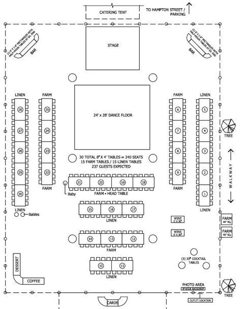 Floor plan for tent/barn wedding reception but cake table