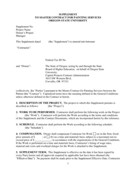 painting contract template sle construction contract between owner and contractor