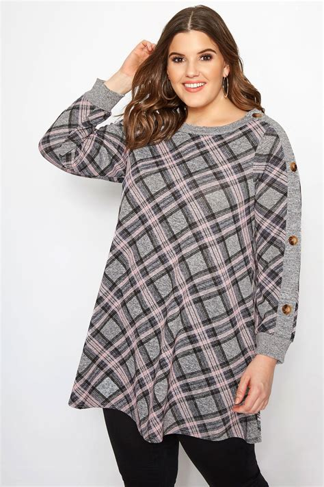 Pot Tawon No 27 plus size grey pink check button tunic sizes 16 to 32