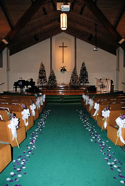 "Church Decorations for a ""winter"" wedding featuring purple"