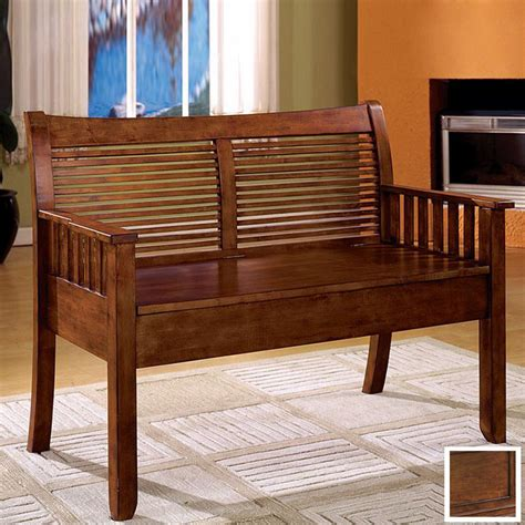 oak entryway bench shop furniture of america solimar dark oak indoor entryway bench with storage at lowes com