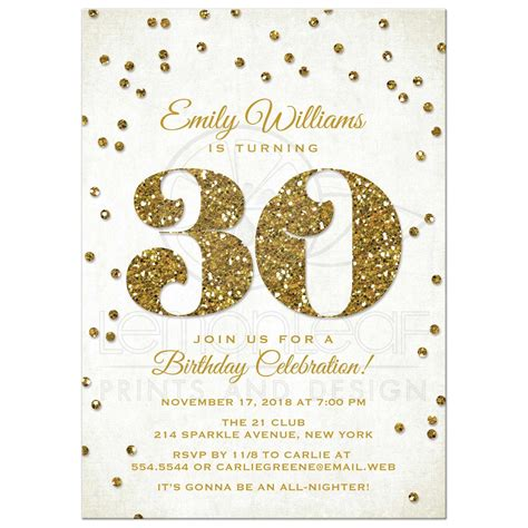 30th birthday invitation wording 30th birthday invitations gold glitter look confetti