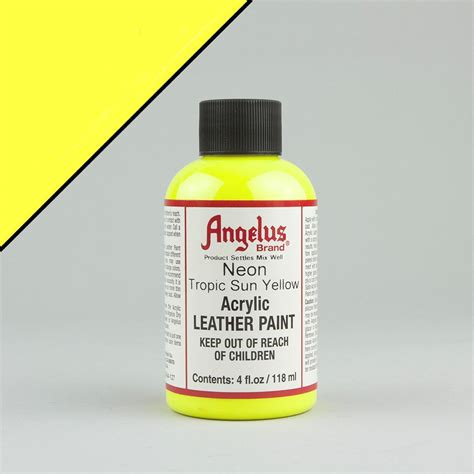 angelus paint thunder yellow angelus neon leather paint 4oz tropic sun yellow