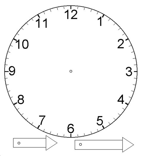 printable adjustable clock template for clock with moveable hour and minute hand