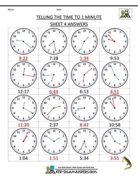 printable games for elapsed time clock worksheets to 1 minute