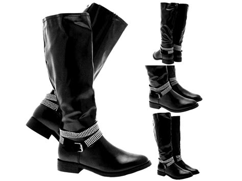 ladies ankle biker boots womens studded ankle strap biker riding boots knee high