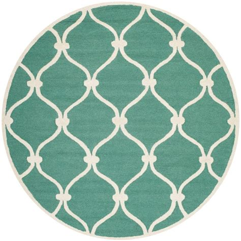teal circle rug safavieh cambridge teal ivory 6 ft x 6 ft area rug cam710t 6r the home depot