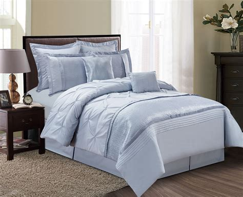 8 piece aubree pinched pleat dust blue comforter set