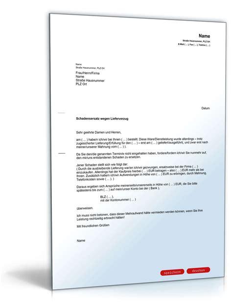 Lieferverzug Schadensersatz Brief Schadensersatz Wegen Versp 228 Teter Lieferung Vorlage Zum