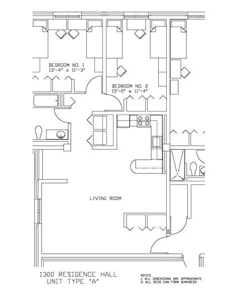 k residence floor plan 1300 residence hall university housing and residential life