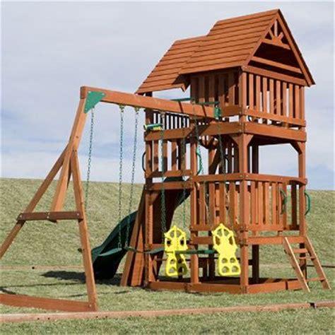 highlander swing set highlander deluxe cedar swing set play set with slide