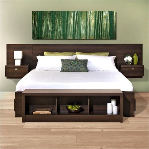 bed with storage in headboard prepac series 9 platform storage w floating headboard espresso bed ebay