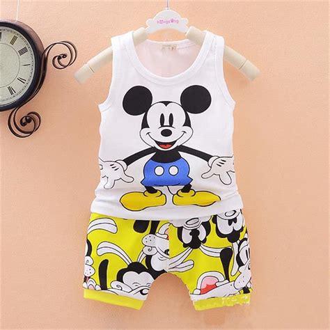 V7v Set Baby Minnie 2016 new baby boys clothes set kid minnie vest pant summer style sport suit