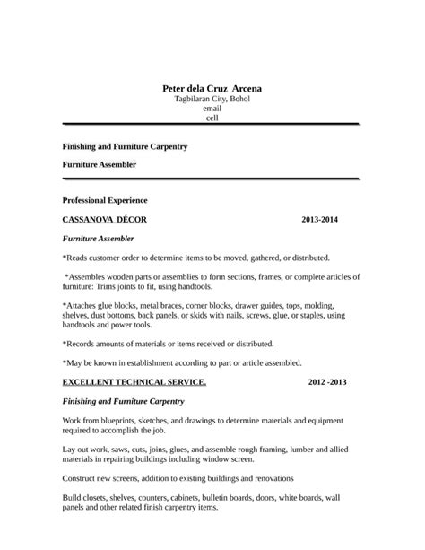 Finish Carpenter Cover Letter by Portfolio Carpenter Resume Template