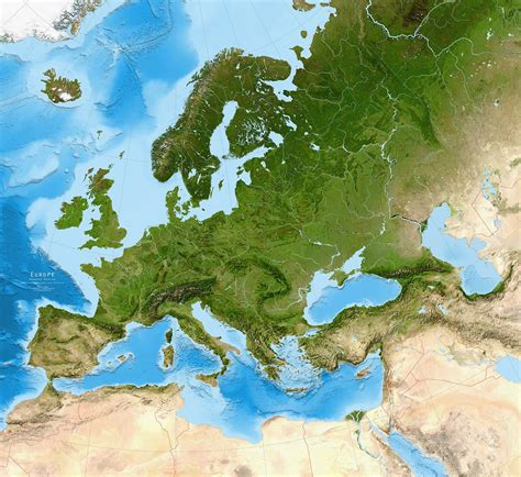 map of europe map europe satellite image giclee print enhanced physical