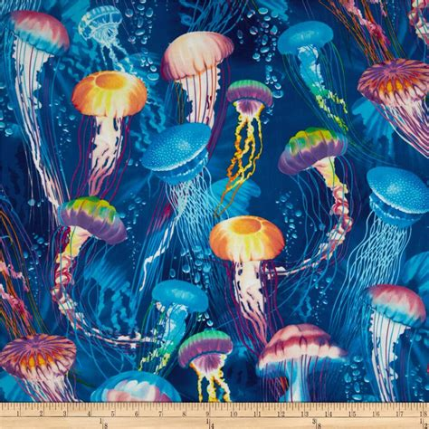 Fish Home Decor Accents by Timeless Treasures Jellyfish Blue Discount Designer