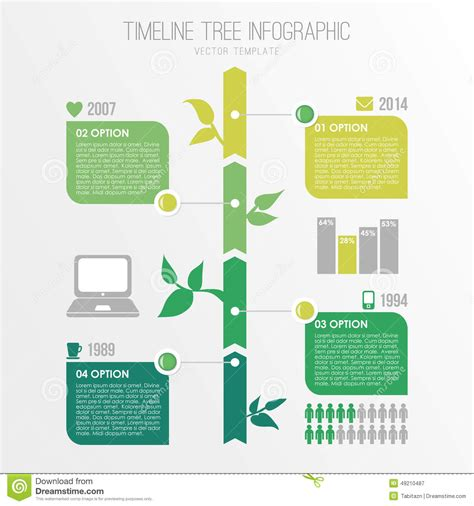 Timeline Tree Infographics Template Eco Nature Design Stock Vector Illustration Of Plant Drawing Infographic Template