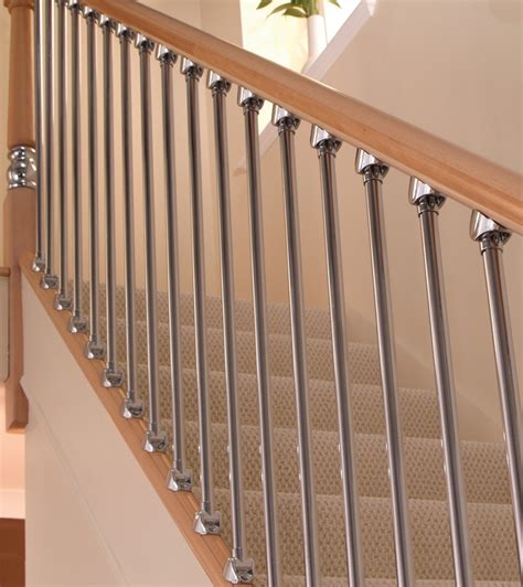chrome banister axxys chrome and brushed nickel spindles blueprint joinery
