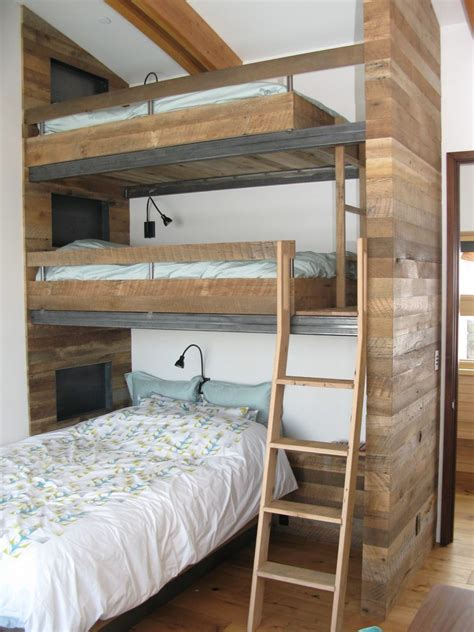 Cabin Bunk Bed Ideas Kids Rustic With Light Wood Bunk Beds Reading Lights For Bunk Beds