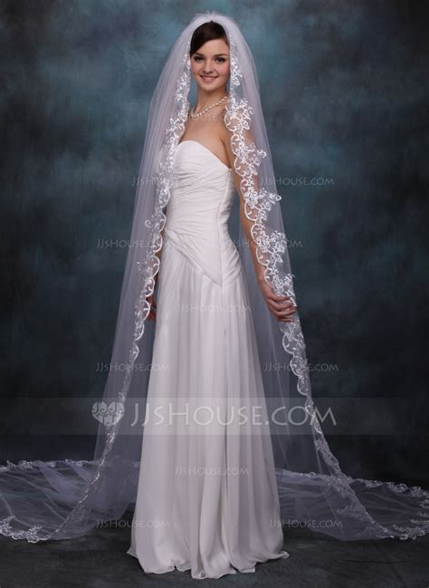 one tier cathedral bridal veils with lace applique edge 006020359 wedding veils jjshouse