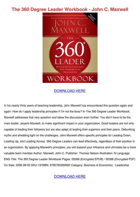 The 360 Leader C Maxwell the 360 degree leader workbook c maxwell by celinabohn issuu