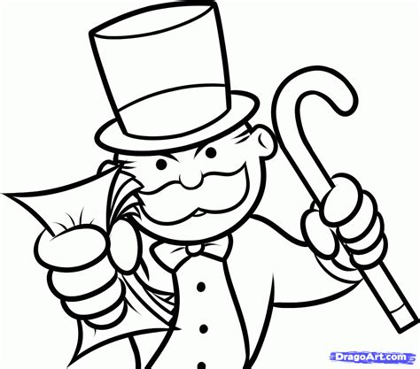 how to draw monopoly the monopoly guy step by step
