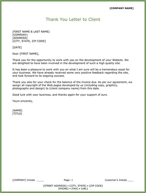 thank you letter from business to client customer thank you letter 5 sle letter templates