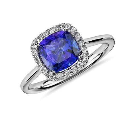 Tanzanite Rings by Tanzanite Cushion And Halo Ring In 14k White Gold