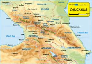 map of caucasus several countries map in the atlas of