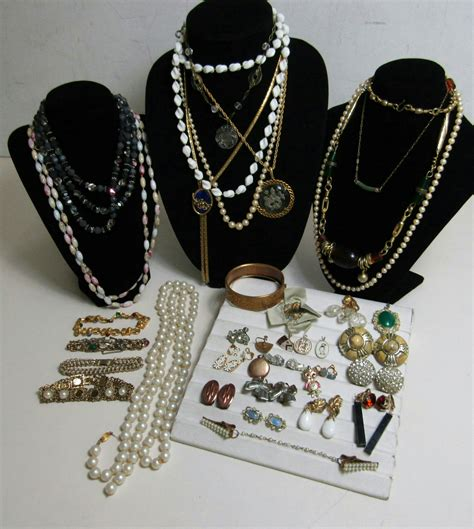 vintage costume jewelry lot bead necklace clip on earrings