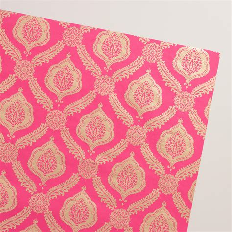 Handmade Wrapping Paper - pink fern medallion handmade wrapping paper rolls set of 2