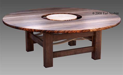 Custom Made Round Dining Table Zebrawood Walnut Curly Custom Dining Table