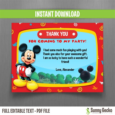 Mickey Thank You Card Template by Disney Mickey Mouse Clubhouse Birthday Thank You Cards